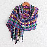 Cotton shawl, 'San Juan Fiesta' - Colorful Cotton Shawl Crafted in Guatemala