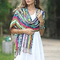 Cotton shawl, 'Festival of Color' - Artisan Crafted Colorful Cotton Shawl from Guatemala