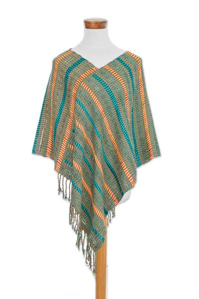 Handwoven Striped Cotton Poncho from Guatemala