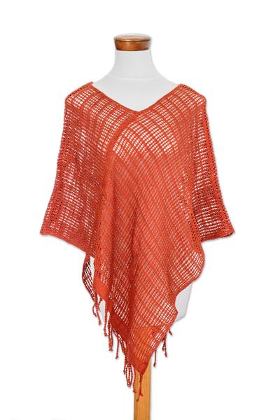 Handmade Open Weave All Cotton Poncho in Deep Orange