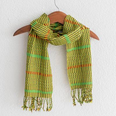 Cotton scarf, 'Citrus Paths' - Handmade 100% Cotton Scarf in Citrus Shades