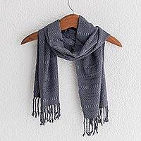 Rayon scarf, 'Color and Texture in Grey' - Tone-on-Tone Grey Rayon Scarf from Guatemala