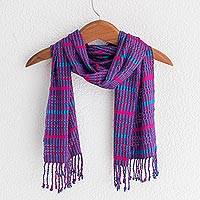 Rayon scarf, 'Sweet Sunset' - Bright Multicolored Rayon Scarf from Guatemala