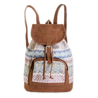 Pastel Faux Suede-Accented Cotton Backpack from Guatemala