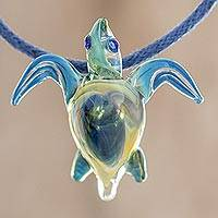 Art glass pendant necklace, 'In the Lagoon'