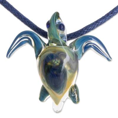 Art glass pendant necklace, 'In the Lagoon' - Blue and Yellow Art Glass Sea Turtle Pendant Necklace
