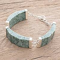 Jade link bracelet, 'Simple Panels in Apple Green'