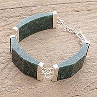 Jade link bracelet, 'Simple Panels in Dark Green' - Dark Green Jade Link Bracelet from Guatemala