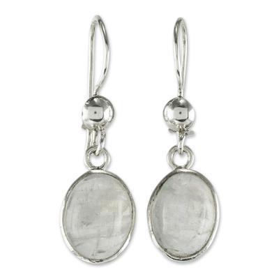 Sterling and Rainbow Moonstone Earrings