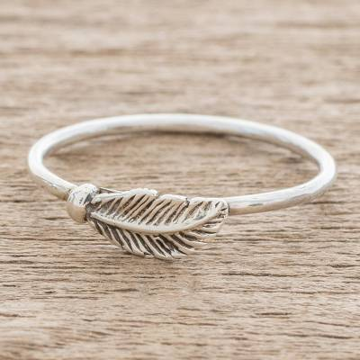 Sterling silver band ring, 'Fallen Feather' - Slender Sterling Silver Band Ring with Feather