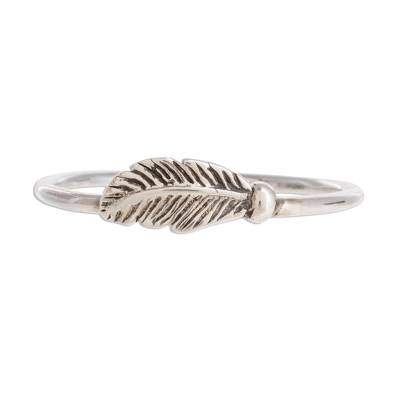 Slender Sterling Silver Band Ring with Feather