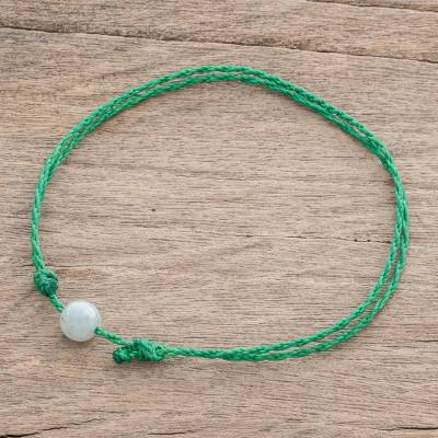 Jade anklet, 'Boho Rope in Green' - Jade Anklet with Adjustable Green Cord from Guatemala