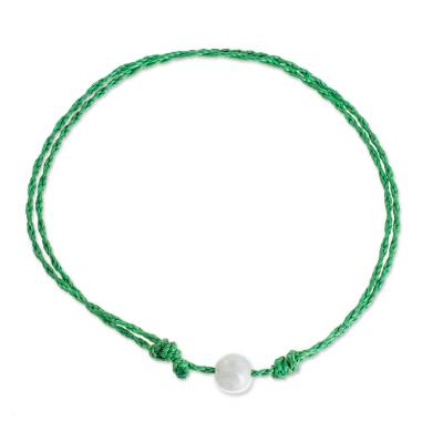Jade Anklet with Adjustable Green Cord from Guatemala