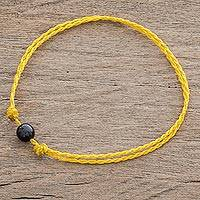 Jade anklet, 'Boho Rope in Yellow' - Jade Anklet with Adjustable Yellow Cord from Guatemala