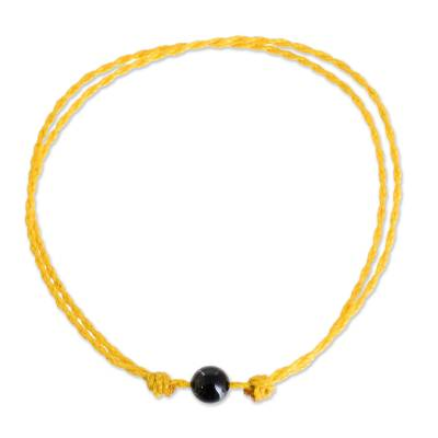 Jade Anklet with Adjustable Yellow Cord from Guatemala
