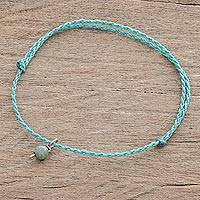 Jade anklet, 'Boho Dangle' - Jade Anklet with Adjustable Blue Cord from Guatemala