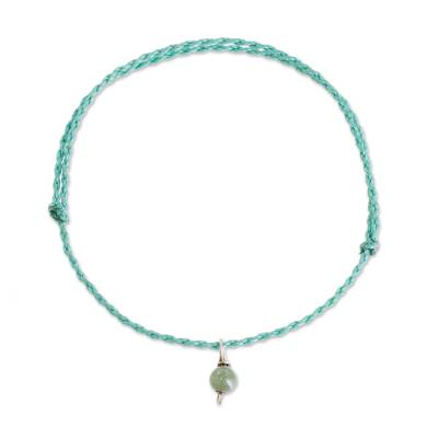 Jade Anklet with Adjustable Blue Cord from Guatemala