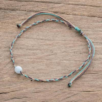 Jade anklet, 'Colorful Rope' - Colorful Cord Anklet with White Jade from Guatemala