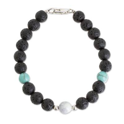Jade and Reconstituted Turquoise Bracelet from Guatemala