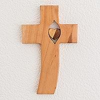 Wood wall cross, 'Heart Within' - Heart-Themed Cedar Wood Wall Cross from Guatemala