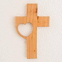 Wood wall cross, 'Cross with Heart' - Wood Wall Cross with a Heart Design from Guatemala