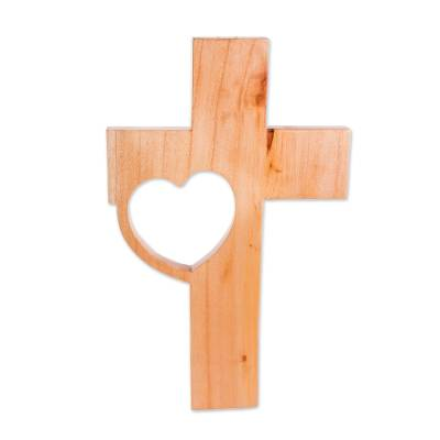 Wood Wall Cross with a Heart Design from Guatemala
