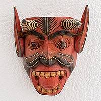 Wood mask, 'Dance of the 24 Devils' - Hand-Carved Cultural Wood Devil Mask from Guatemala