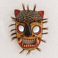 Wood mask, 'Jaguar' - Hand-Carved Rustic Wood Jaguar Mask from Guatemala