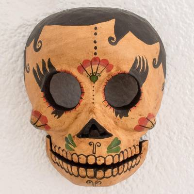 Wood mask, 'Eternal Life' - Rustic Wood Skull Mask Crafted in Guatemala