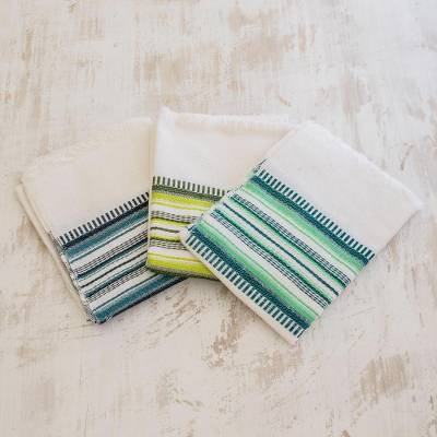 Cotton dish towels, 'Fruit Colors' (set of 3) - 3 Handwoven Guatemalan Cotton Fruit Color Dish Towels