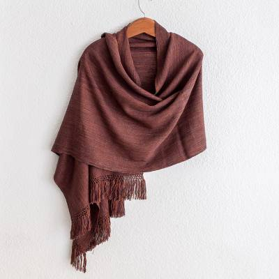 Cotton shawl, 'Subtle Brown Nuances' - Backstrap Handwoven Cotton Shawl in Butterum Brown