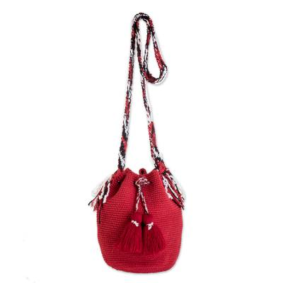 Hand-Crocheted Cotton Bucket Bag in Solid Strawberry