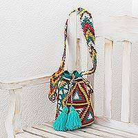 Cotton bucket bag, 'Tribal Geometry' - Colorful Geometric Cotton Bucket Bag from Guatemala