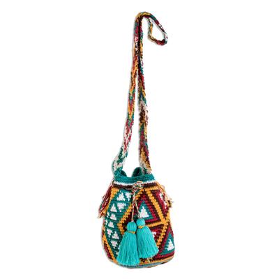 Colorful Geometric Cotton Bucket Bag from Guatemala
