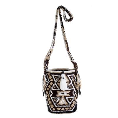 Earth-Tone Geometric Cotton Bucket Bag from Guatemala