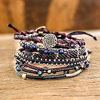 Glass beaded macrame bracelets, Boho Histories in Black (set of 7)