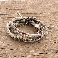 Macrame bracelets, 'Maya Highlands' (set of 4) - Unisex Beige Macrame Bracelets (Set of 4)