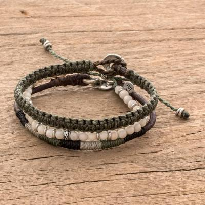 Macrame bracelets, 'Highland Elements' (set of 3) - Neutral Tones Macrame Bracelets from Guatemala (Set of 3)