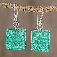 Recycled CD dangle earrings, 'Square Lakes' - Square Recycled CD Dangle Earrings in Blue from Guatemala