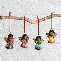 Ceramic ornaments, 'Heavenly Angels' (set of 4)