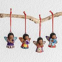 Ceramic ornaments, 'Earth Angels (set of 4)