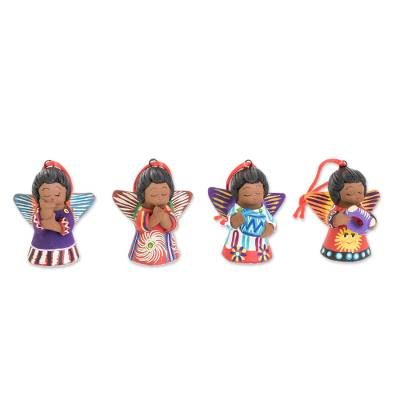 Ceramic ornaments, 'Earth Angels (set of 4) - Four Handcrafted Ceramic Angel Ornaments