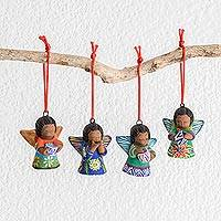 Ceramic ornaments, 'Forest Angels' (set of 4) - Handcrafted Ceramic Angel Ornaments (Set of 4)
