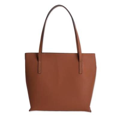 Bonded Leather Shoulder Bag in Solid Spice from El Salvador