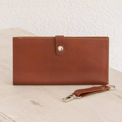 Leather passport wallet, 'Burnt Orange Style' - Leather Passport Wallet in Solid Burnt Orange