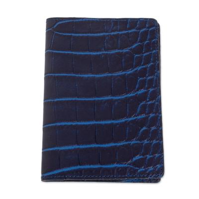 Navy and Azure Leather Passport Wallet from El Salvador