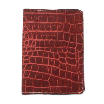 Russet and Chili Leather Passport Wallet from El Salvador