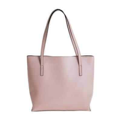 Bonded Leather Shoulder Bag in Solid Blush from El Salvador