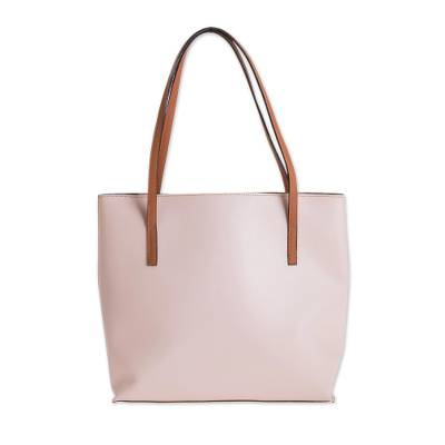 Bonded Leather Shoulder Bag in Blush from El Salvador
