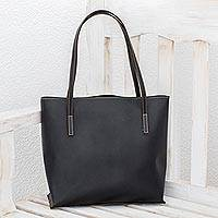 Bonded leather shoulder bag, 'Sublime Elegance in Black' - Bonded Leather Shoulder Bag in Solid Black from El Salvador